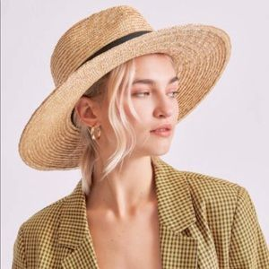 WOVEN STRAW FEDORA WIDE BRIMMED WOMANS HAT